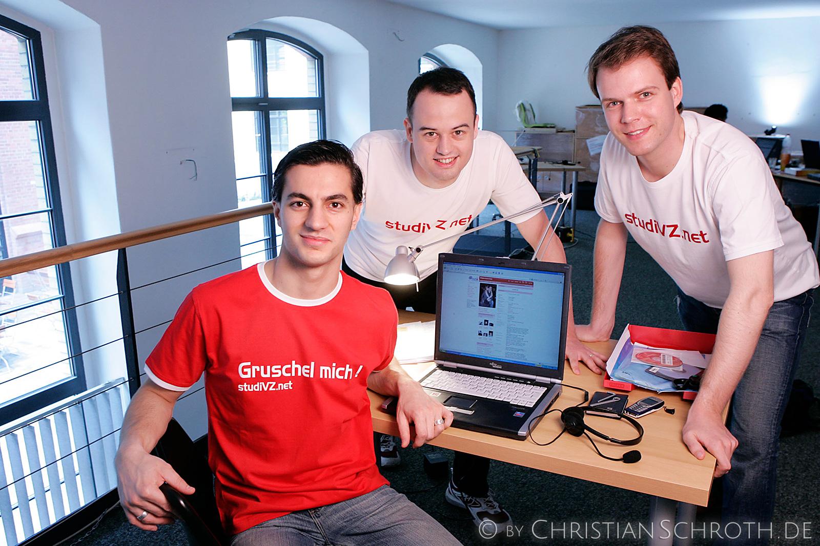StudiVZ-Gründer Ehssan Dariani, Dennis Bemmann, Michael Brehm in ihrem ersten Büro